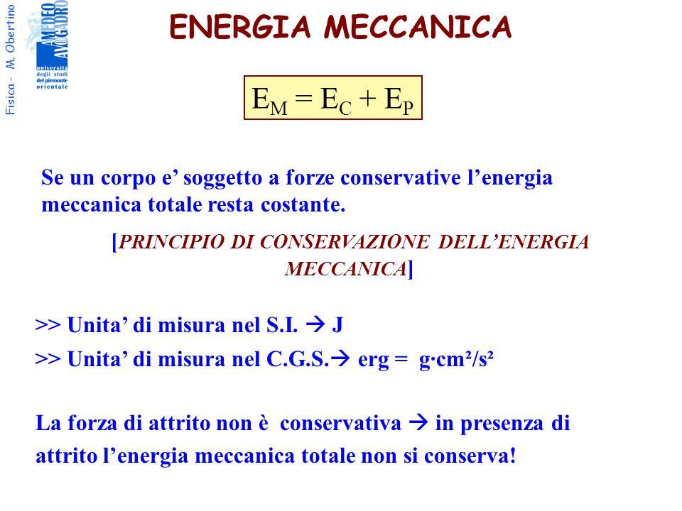 [PRINCIPIO DI CONSERVAZIONE DELL'ENERGIA MECCANICA]